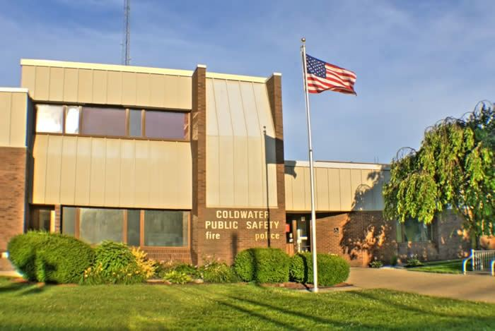 The front of the Coldwater Public Safety Building