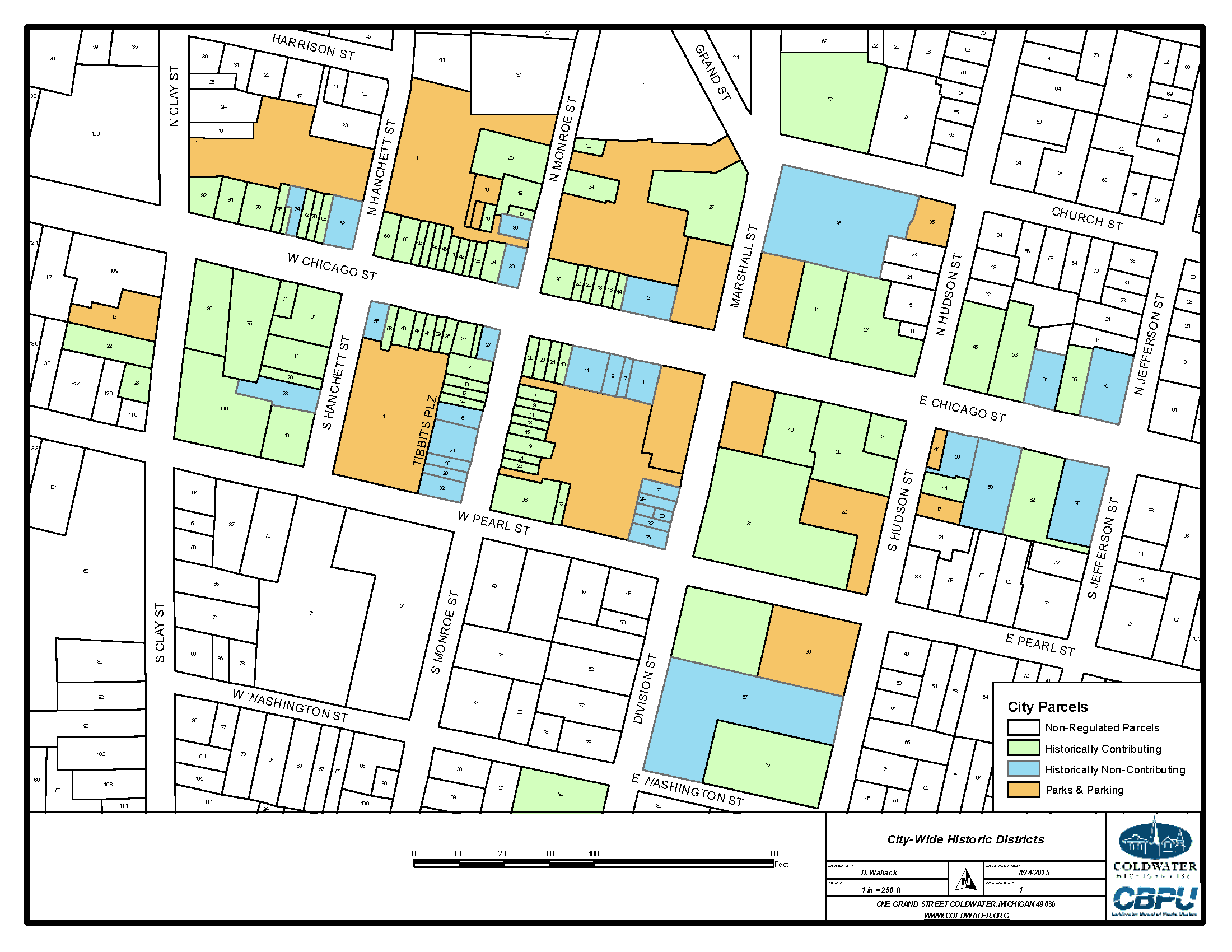 A map showing the Local Historic District