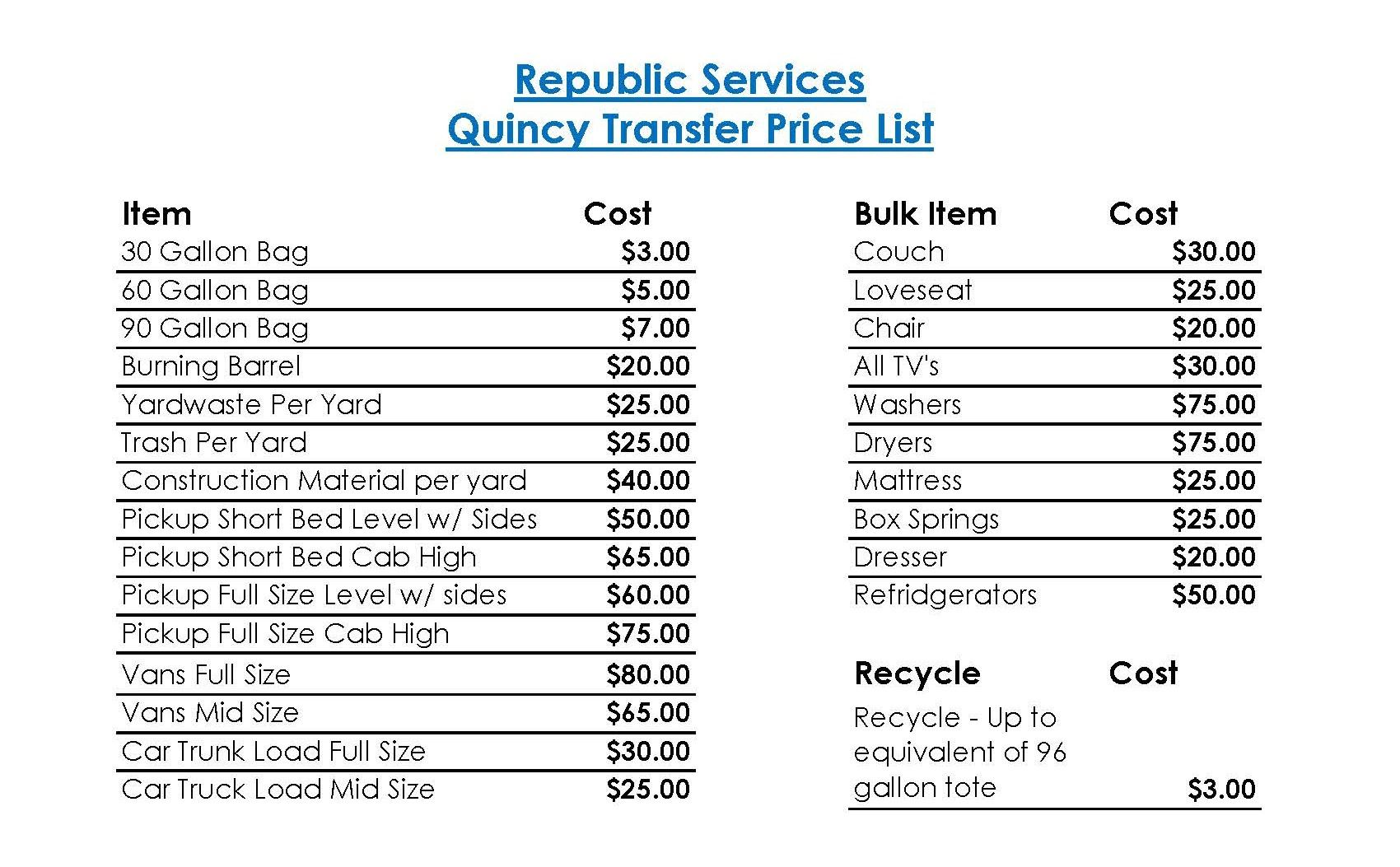 2018 Quincy Transfer Station Pricing List