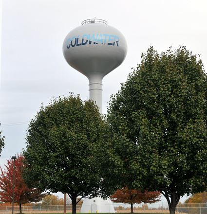The Coldwater Water Tower with a tree above it