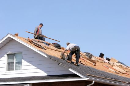 Construction Workers Applying Roofing