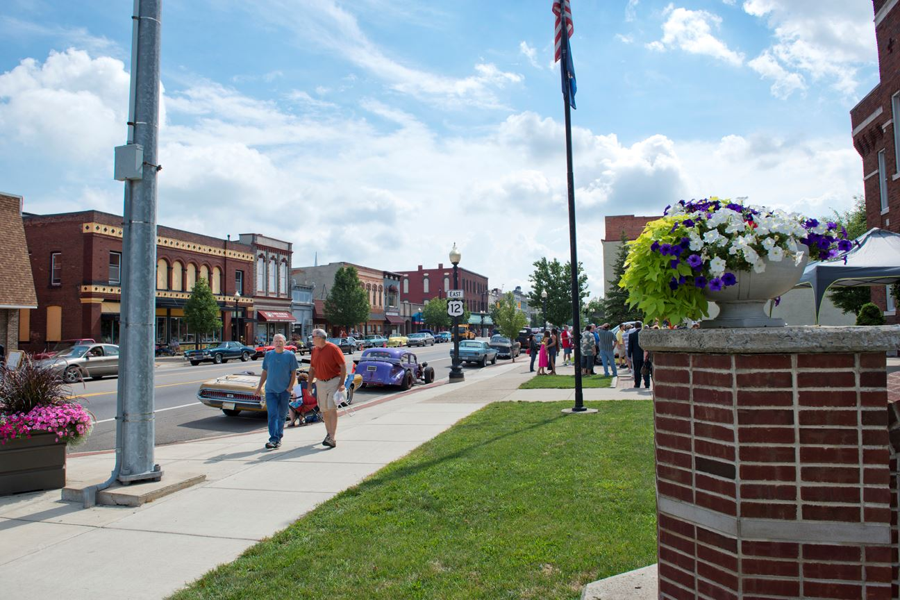 People Enjoying the Day in Downtown Coldwater