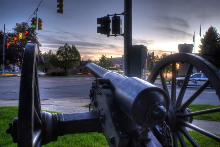 A gun and carriage at Four Corners Park